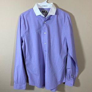 Express Men's Fitted Lilac Shirt w/ white collar